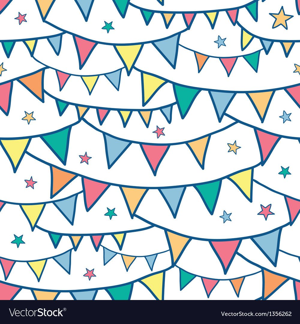 Colorful doodle bunting flags seamless pattern vector | Price: 1 Credit (USD $1)