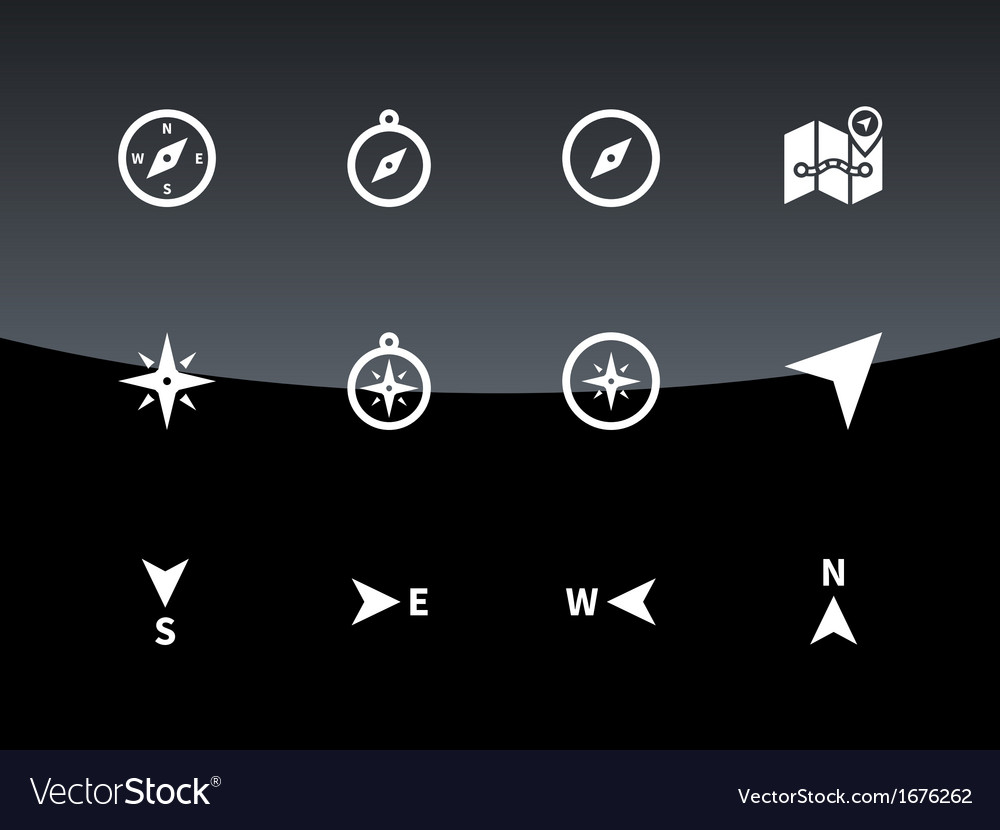 Compass icons on black background vector | Price: 1 Credit (USD $1)