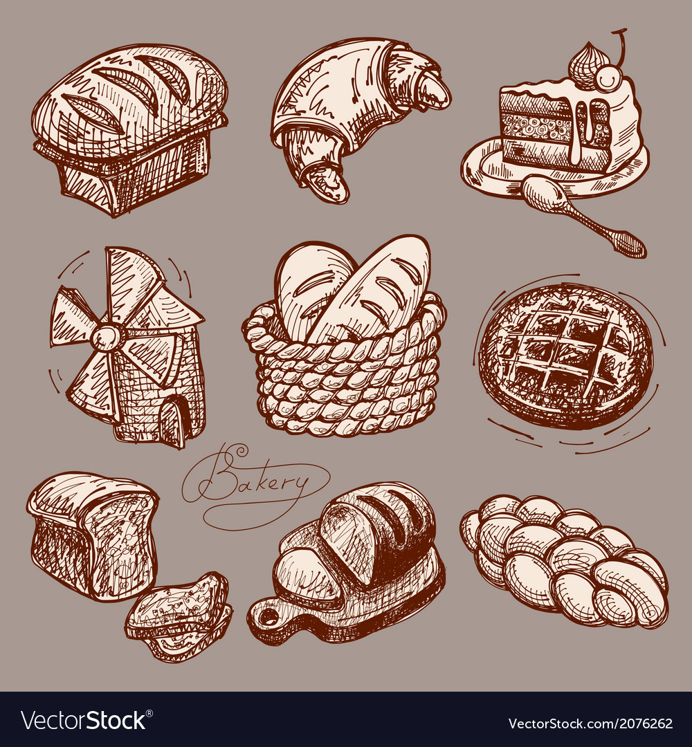 Digital drawing bakery icon set vector | Price: 1 Credit (USD $1)