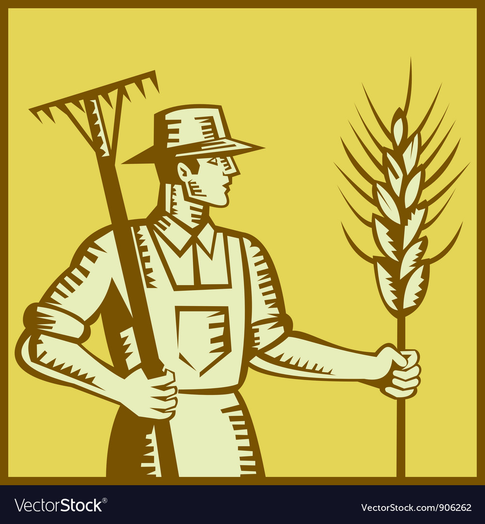 Farmer with rake vector | Price: 1 Credit (USD $1)