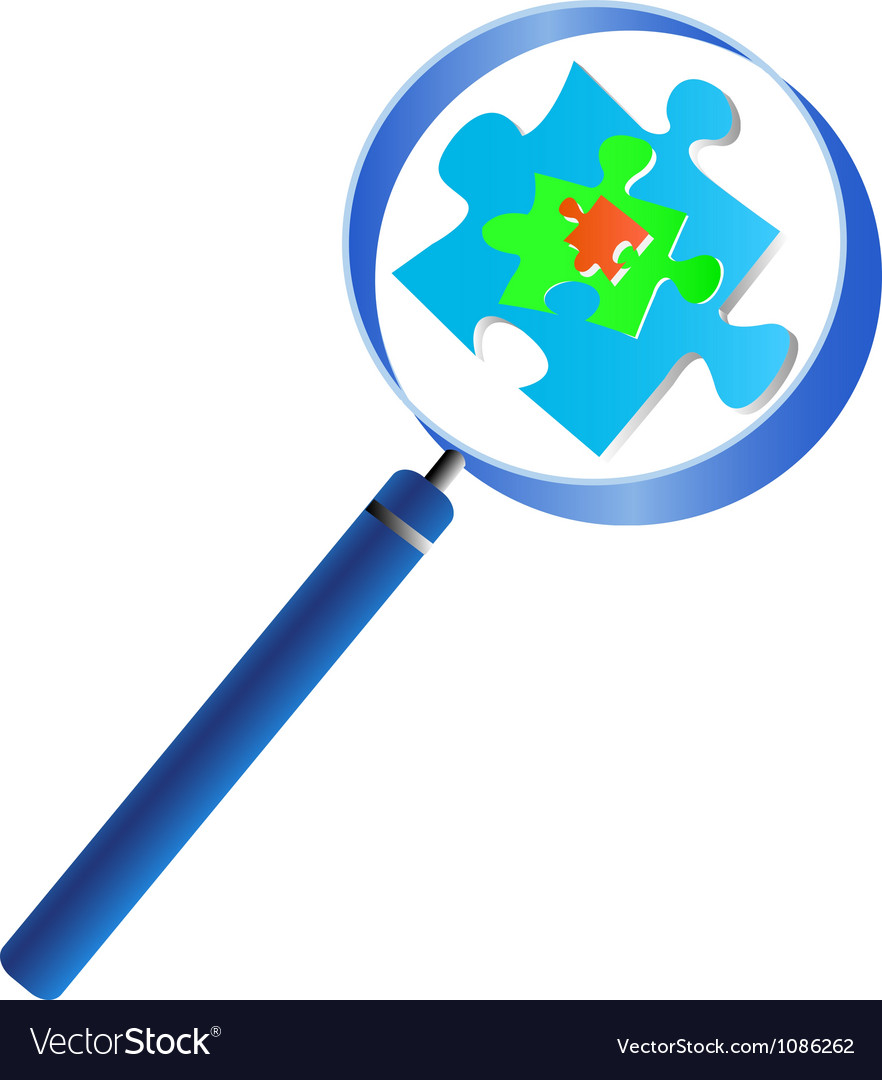 Magnifying glass analyzing the puzzle vector | Price: 1 Credit (USD $1)