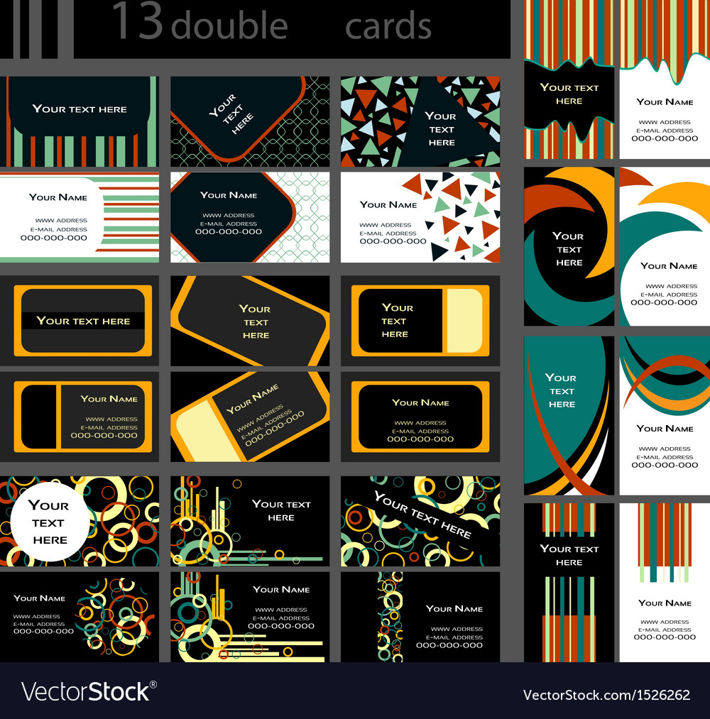 Set of 13 double business cards vector | Price: 1 Credit (USD $1)