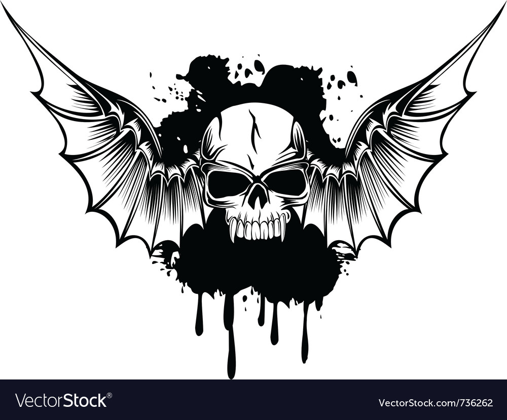 Skull with wings 3 vector | Price: 1 Credit (USD $1)