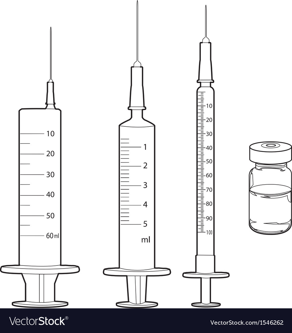 Syringe and medicine vials outline vector | Price: 1 Credit (USD $1)