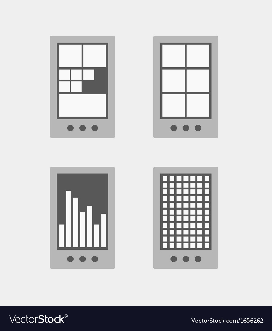 Tile mobile phone interface template collection vector | Price: 1 Credit (USD $1)