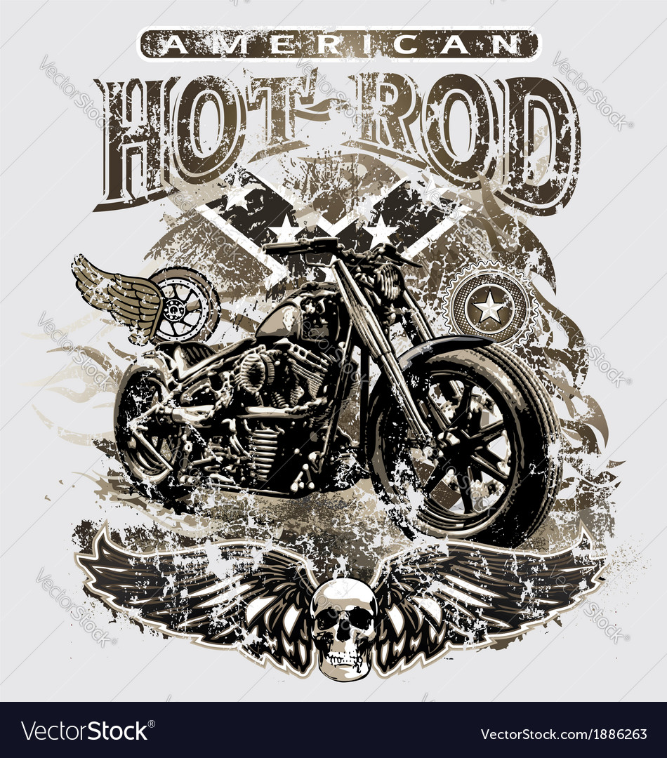 American hot rod motorcycle vector | Price: 5 Credit (USD $5)