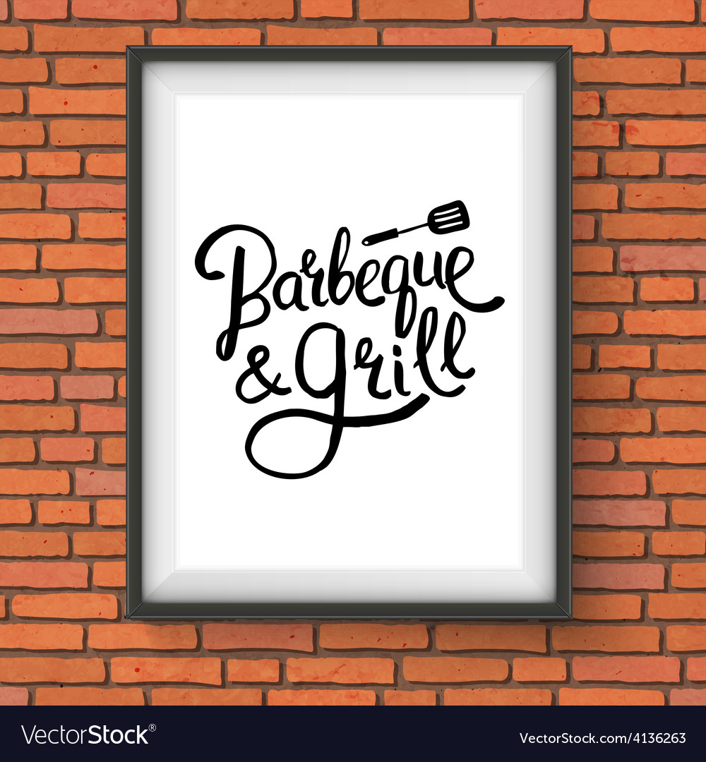 Barbecue and grill restaurant sign on brick wall vector | Price: 1 Credit (USD $1)