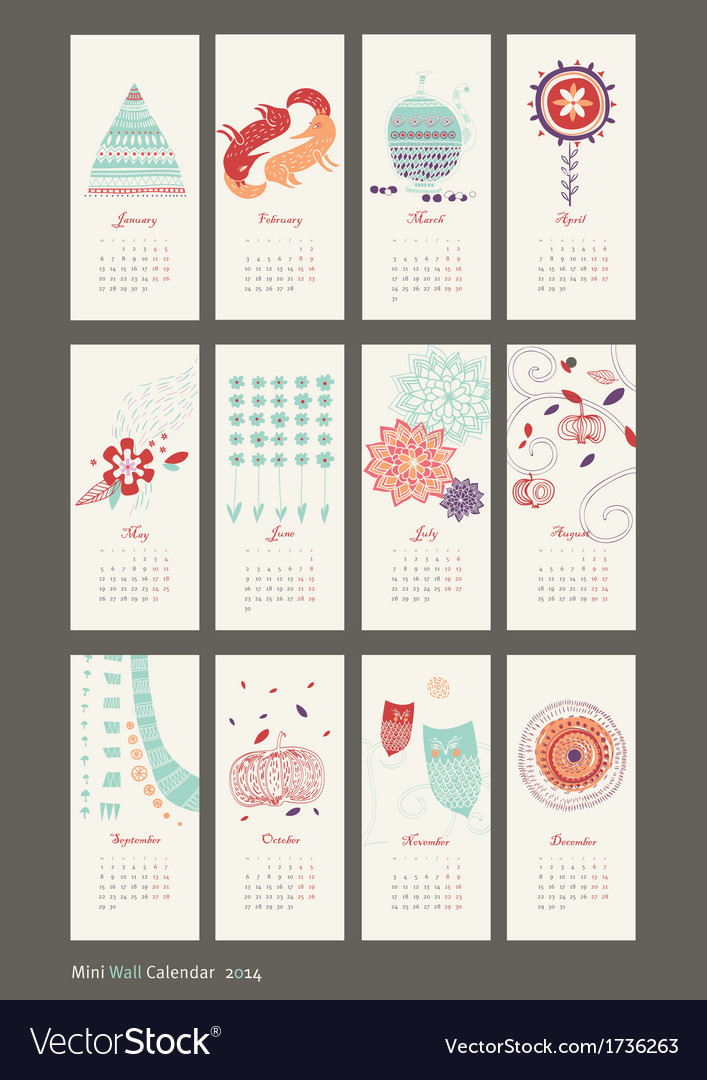 Calendar 2014 cute patterns vector | Price: 1 Credit (USD $1)