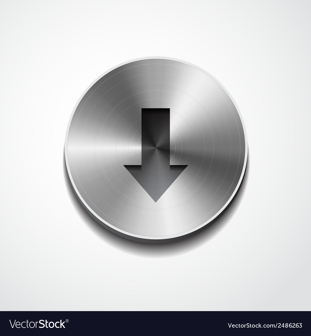 Down sign on button isolated vector | Price: 1 Credit (USD $1)