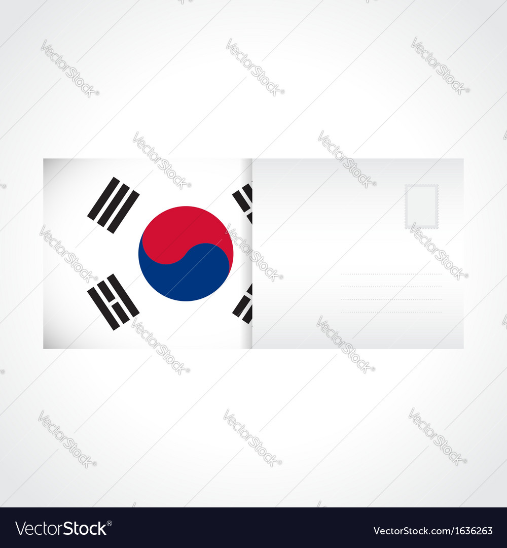 Envelope with flag of south korea card vector | Price: 1 Credit (USD $1)