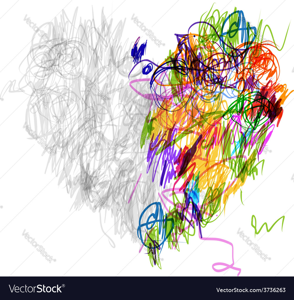 Heart shape pencil drawing for your design vector | Price: 1 Credit (USD $1)
