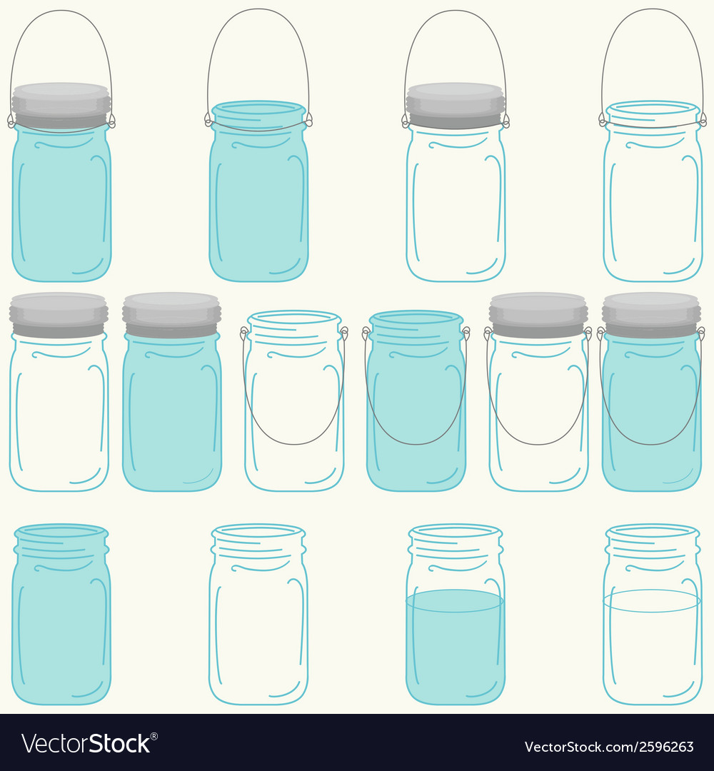 Mason jars set vector | Price: 1 Credit (USD $1)