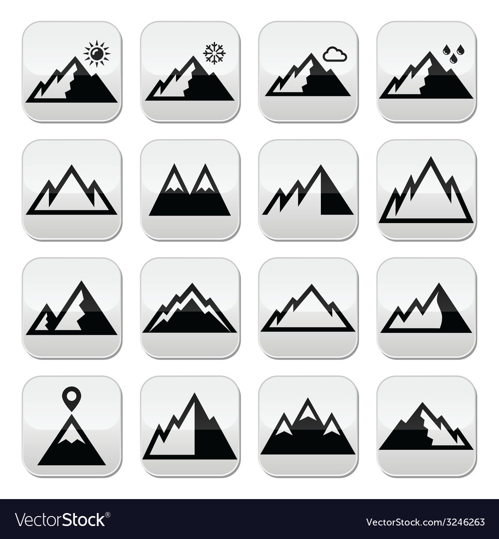 Mountains buttons set vector | Price: 1 Credit (USD $1)