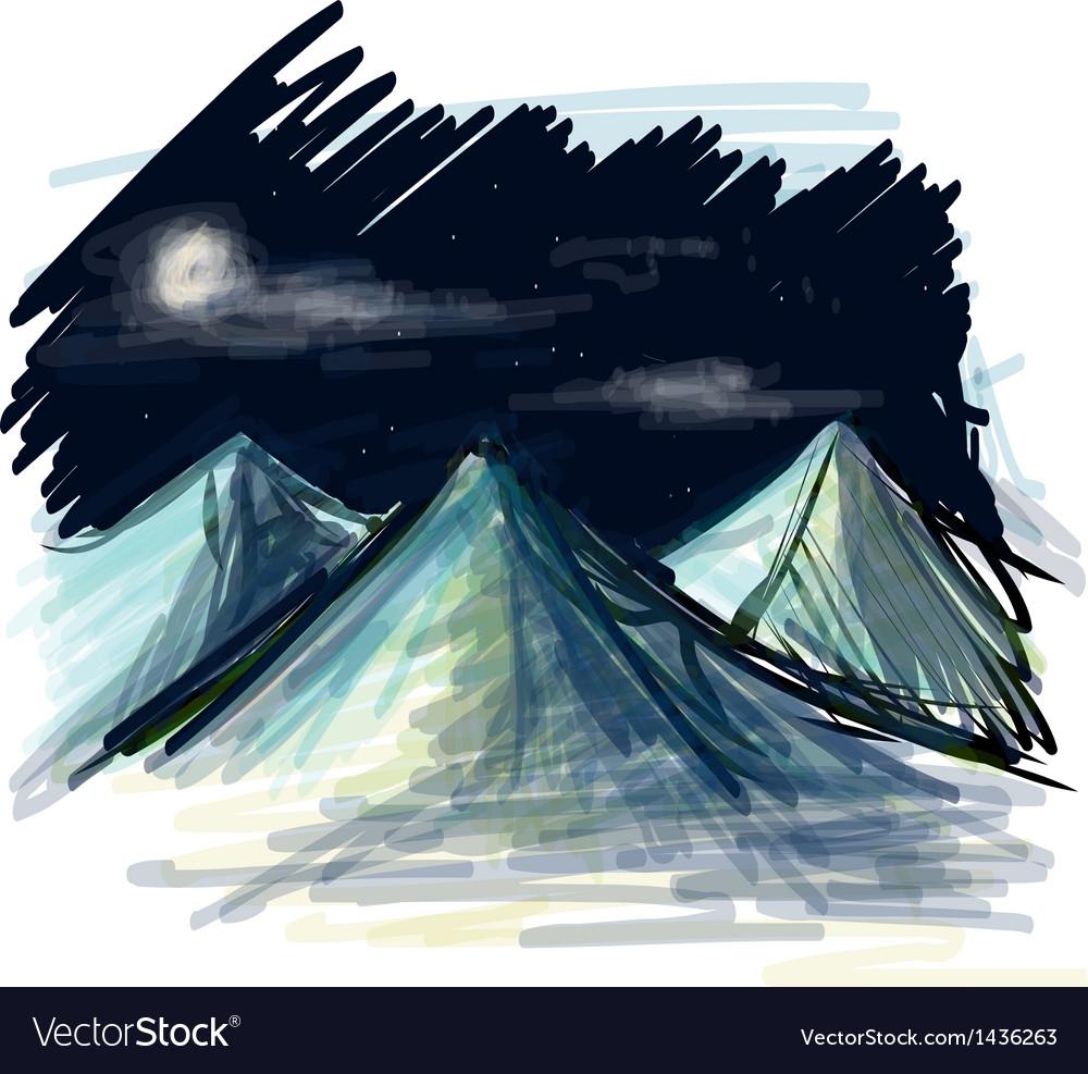 Night landscape sketch vector   Price: 1 Credit (USD $1)