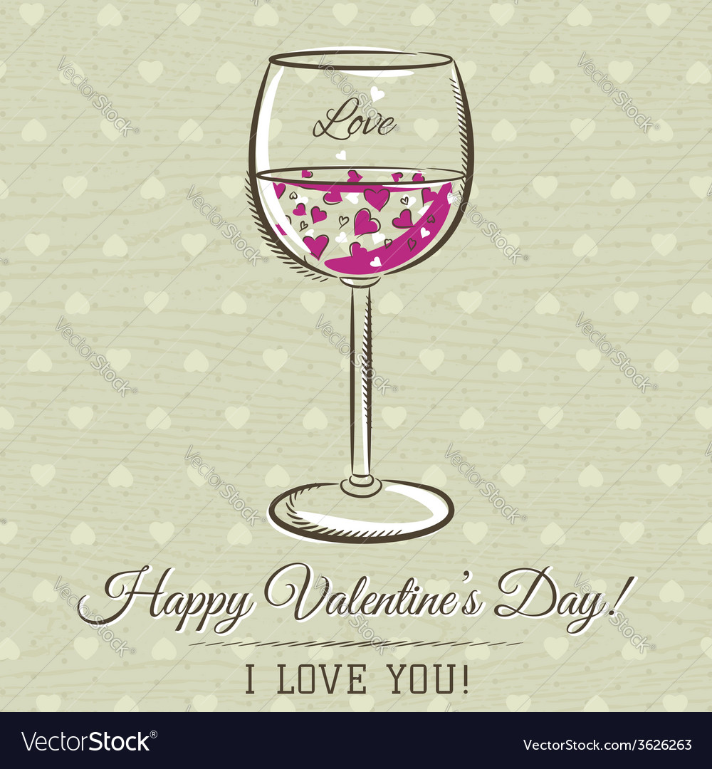 Romantic card with glass of wine vector | Price: 1 Credit (USD $1)