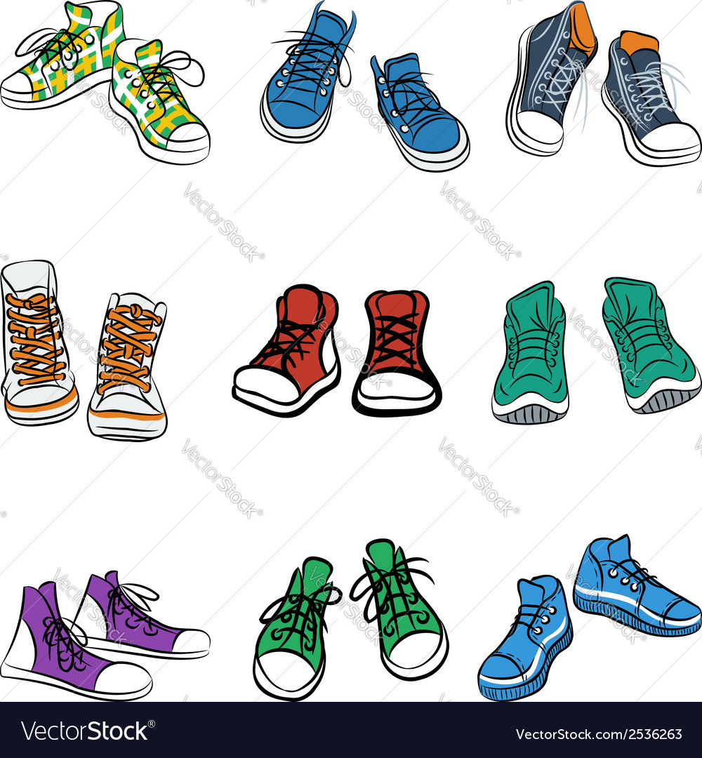Set of different pairs of sneakers vector | Price: 1 Credit (USD $1)