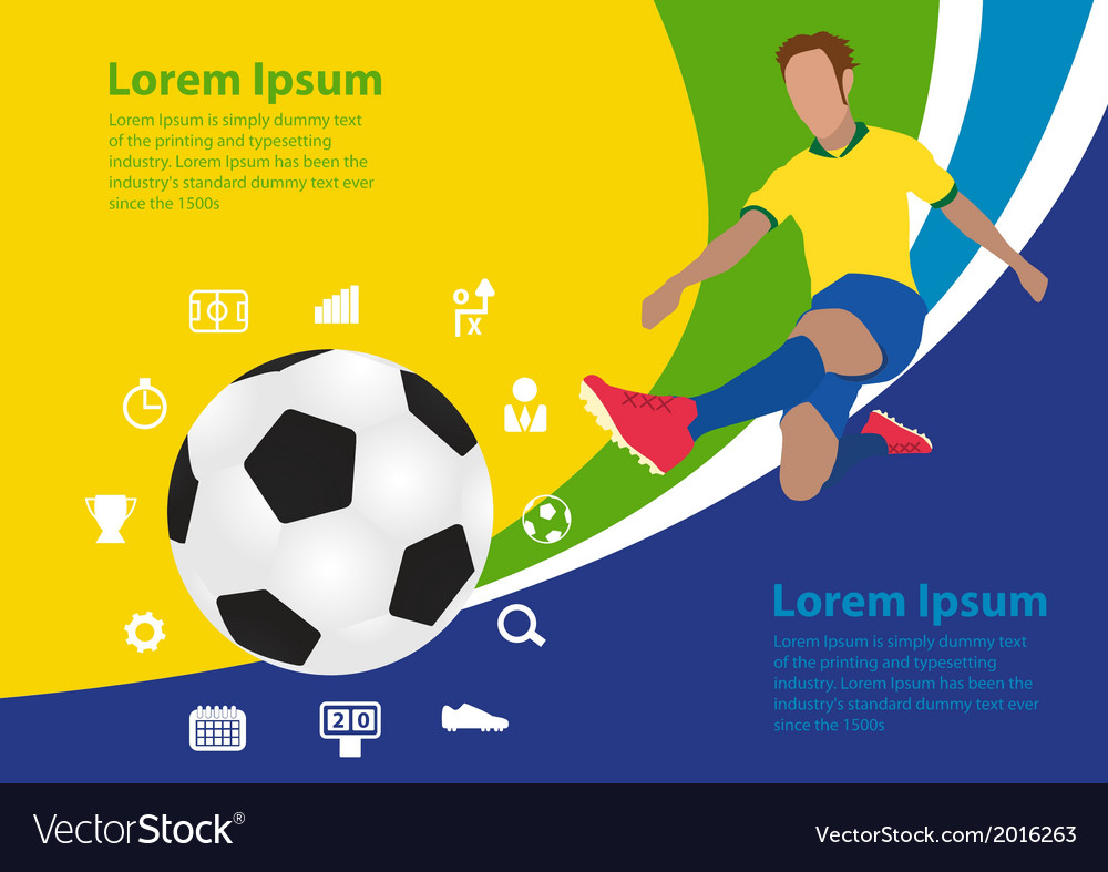Soccer poster brasil template design vector | Price: 1 Credit (USD $1)