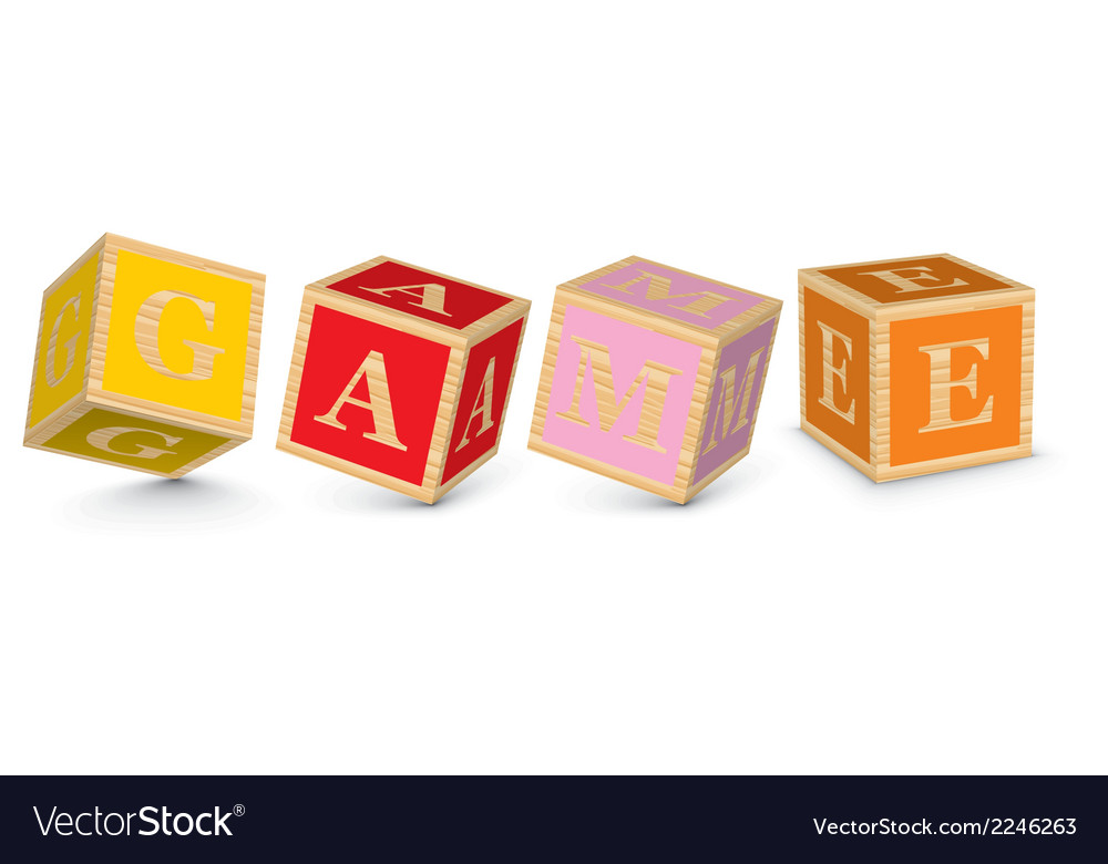 Word game written with alphabet blocks vector | Price: 1 Credit (USD $1)