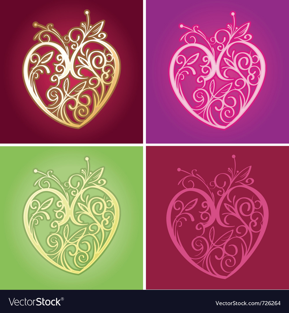 Curve floral heart for valentine ornament vector | Price: 1 Credit (USD $1)