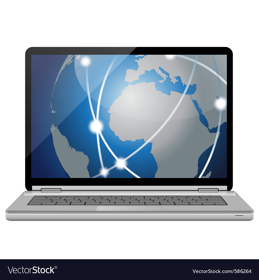 Laptop pc and global network vector | Price: 1 Credit (USD $1)