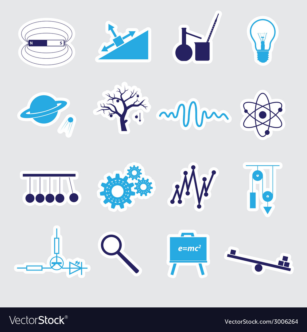 Physics stickers set eps10 vector | Price: 1 Credit (USD $1)