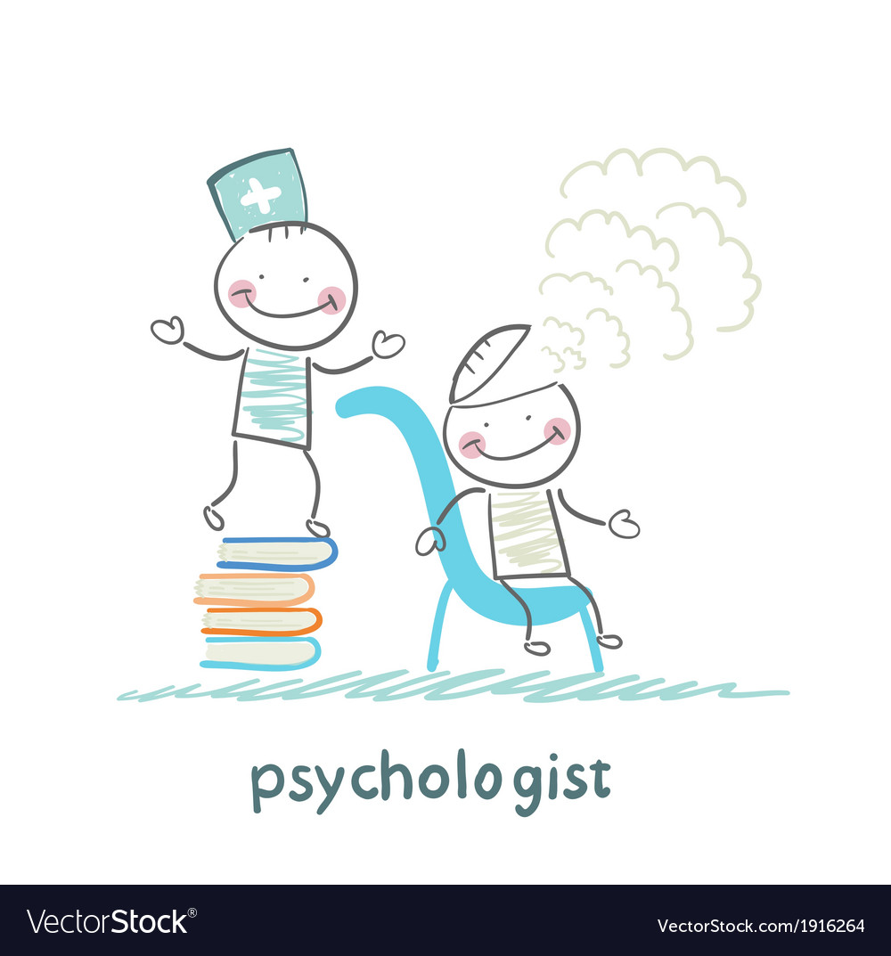 Psychologist is on a stack of books and produces vector | Price: 1 Credit (USD $1)