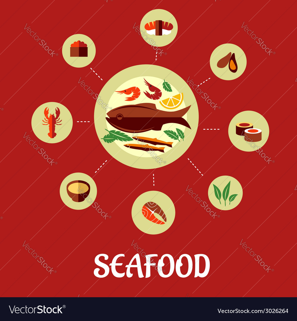 Seafood flat infographic design vector | Price: 1 Credit (USD $1)