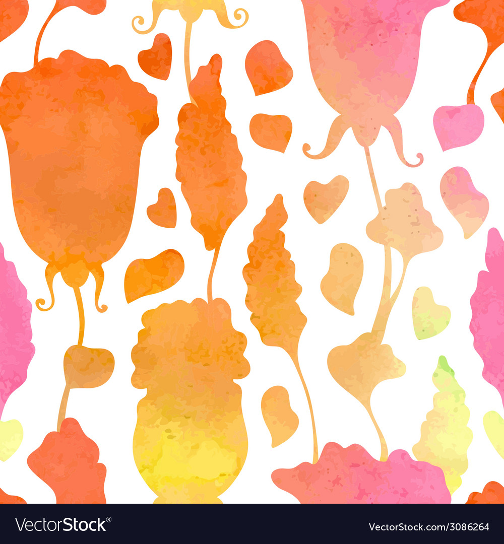 Seamless watercolor floral pattern vector | Price: 1 Credit (USD $1)
