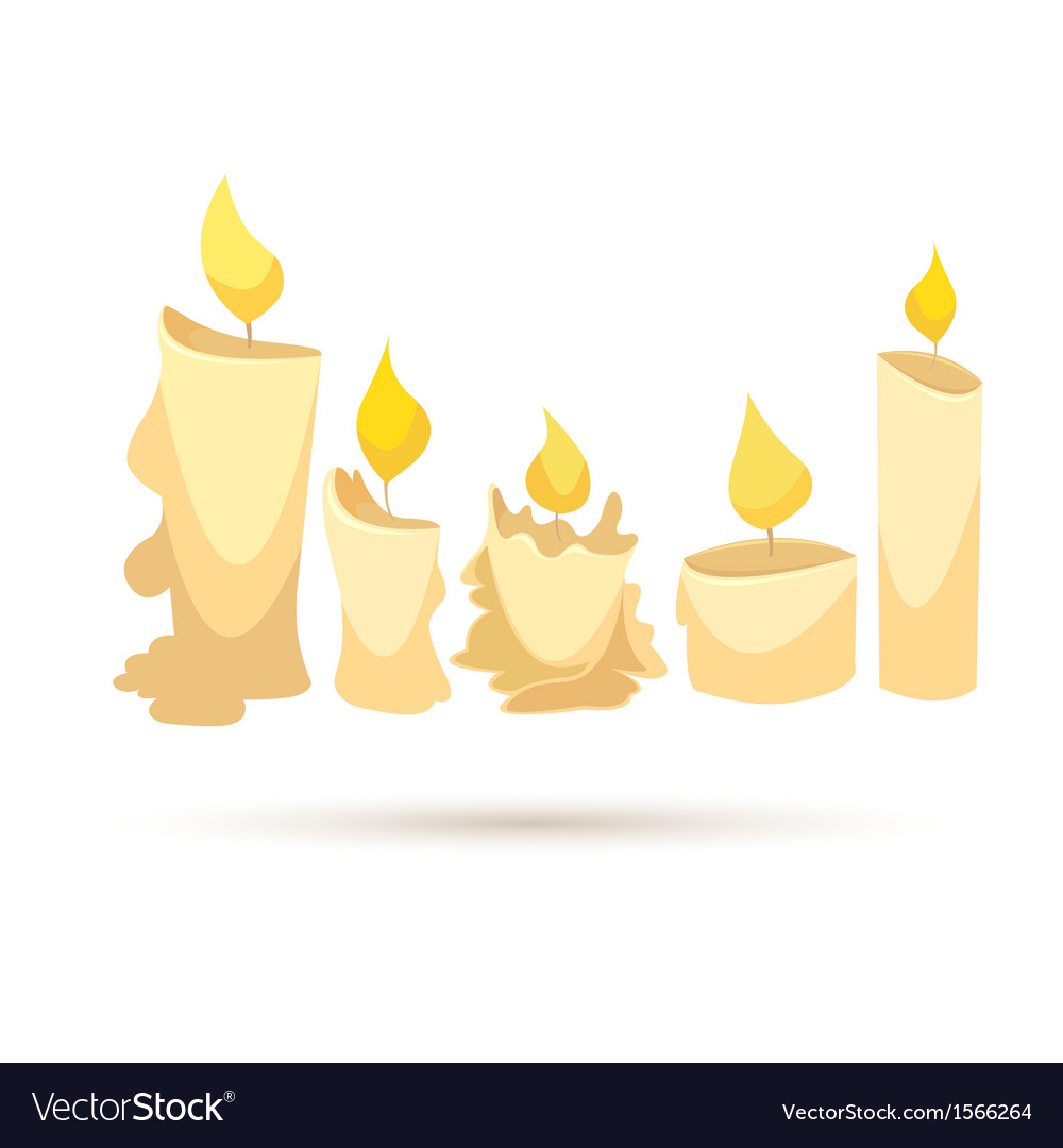 Set of candles isolated on a white backgrounds vector | Price: 1 Credit (USD $1)