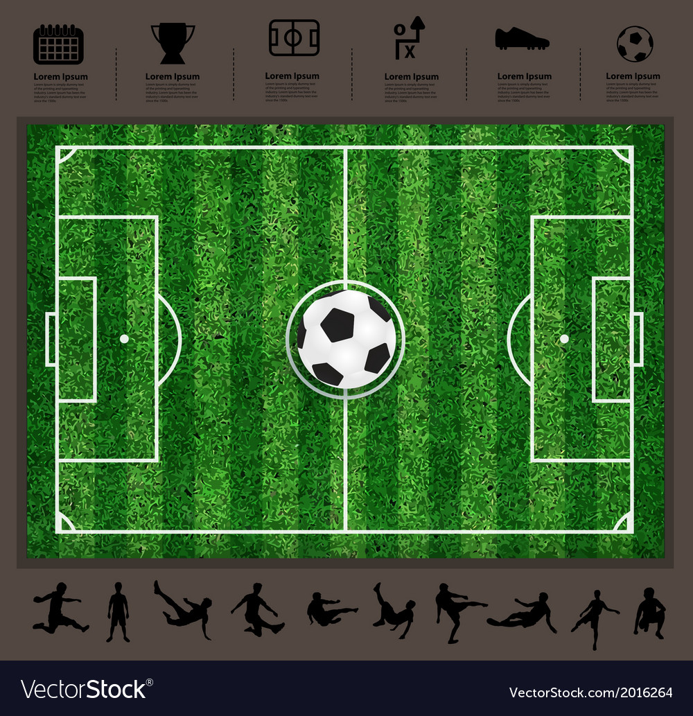 Soccer ball on the field soccer icons set vector | Price: 1 Credit (USD $1)