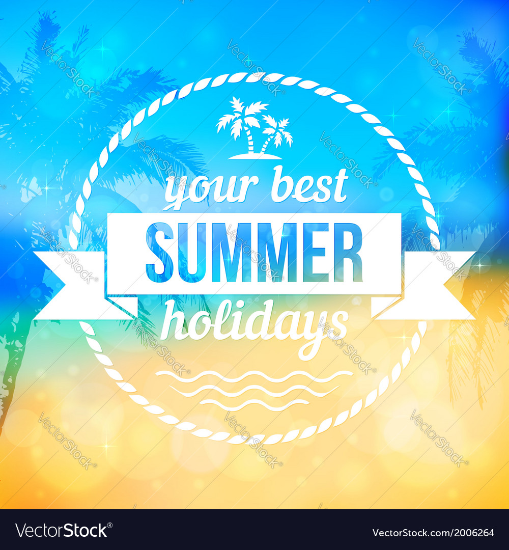 Summer tropical beach background with badge vector | Price: 1 Credit (USD $1)