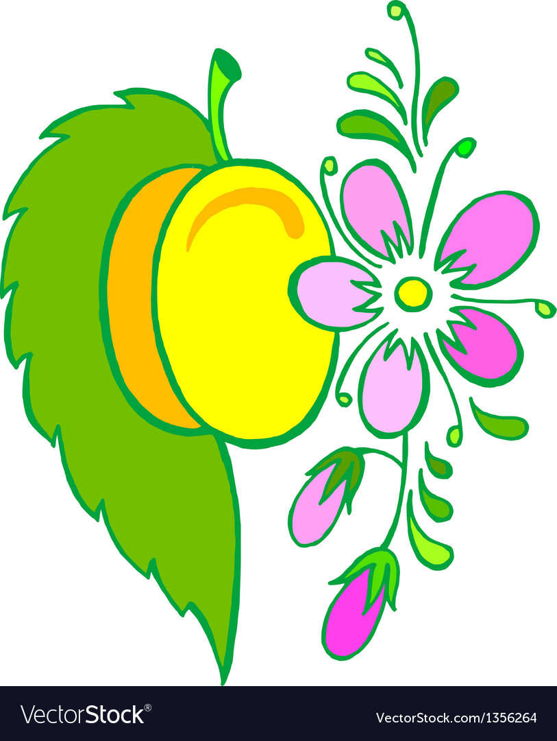 Yellow plum vector | Price: 1 Credit (USD $1)