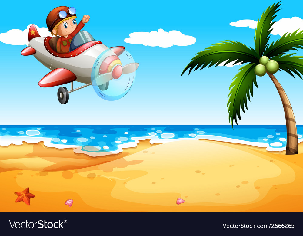 An airplane at the beach vector | Price: 1 Credit (USD $1)