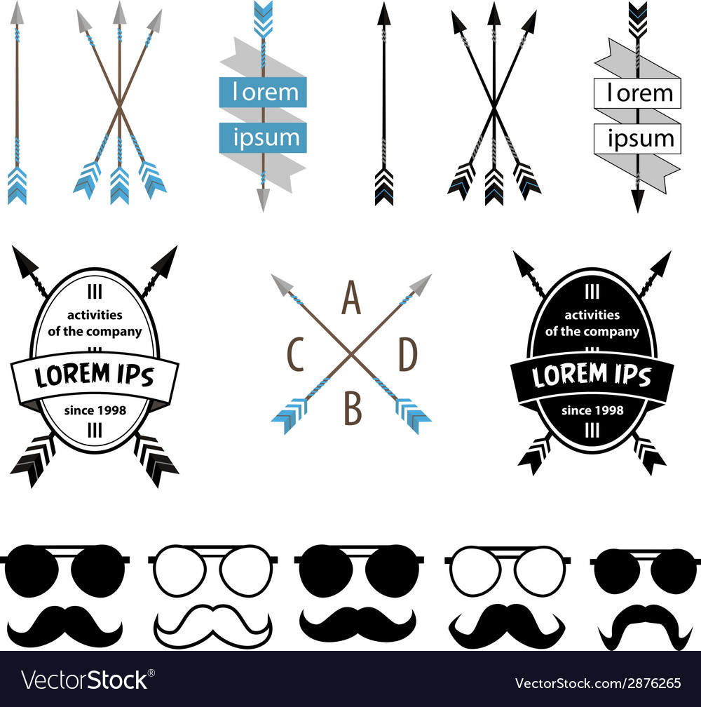 Arrows and mustache set vector | Price: 1 Credit (USD $1)