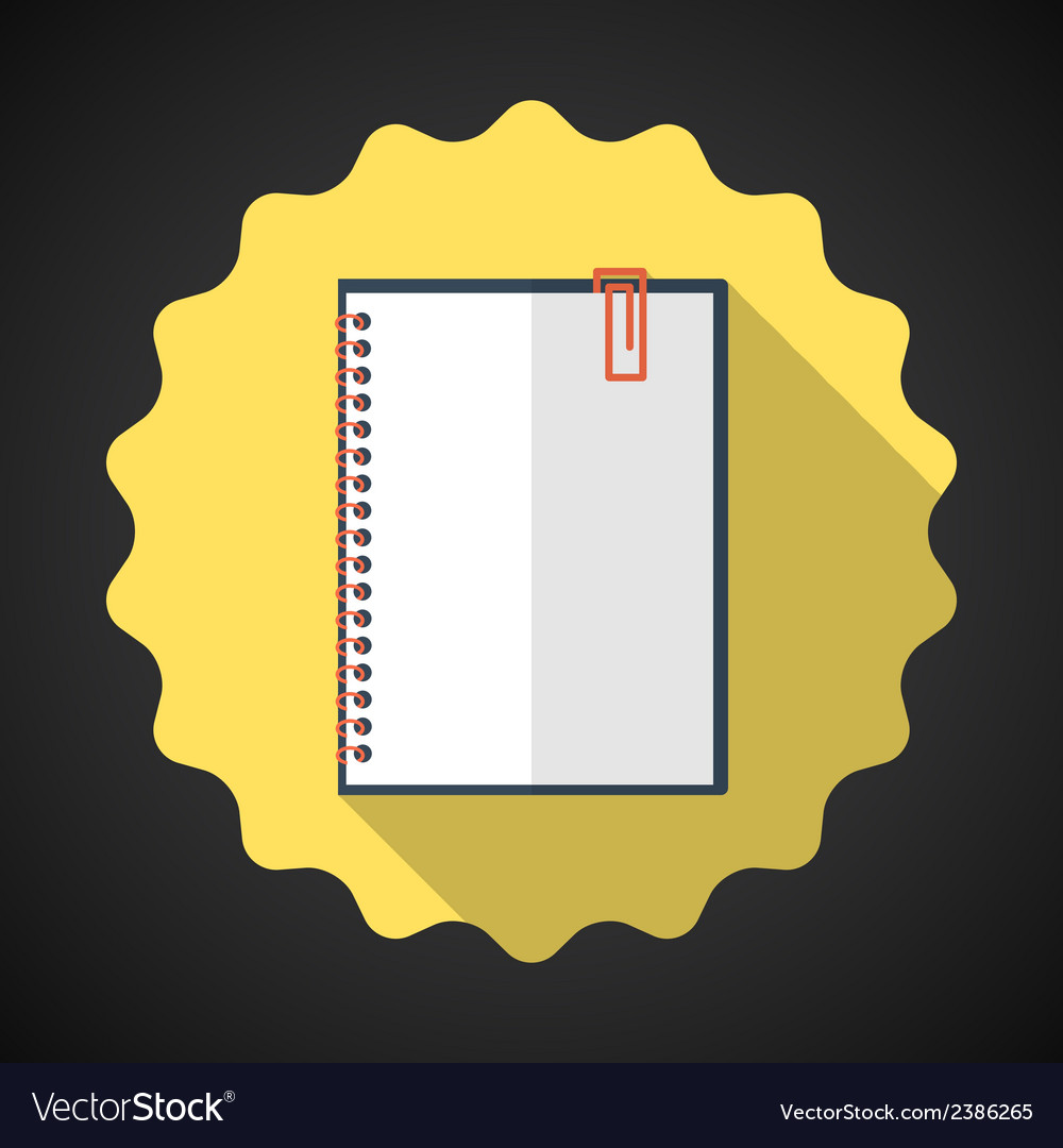 Designer notebook paper sheet flat icon with long vector | Price: 1 Credit (USD $1)