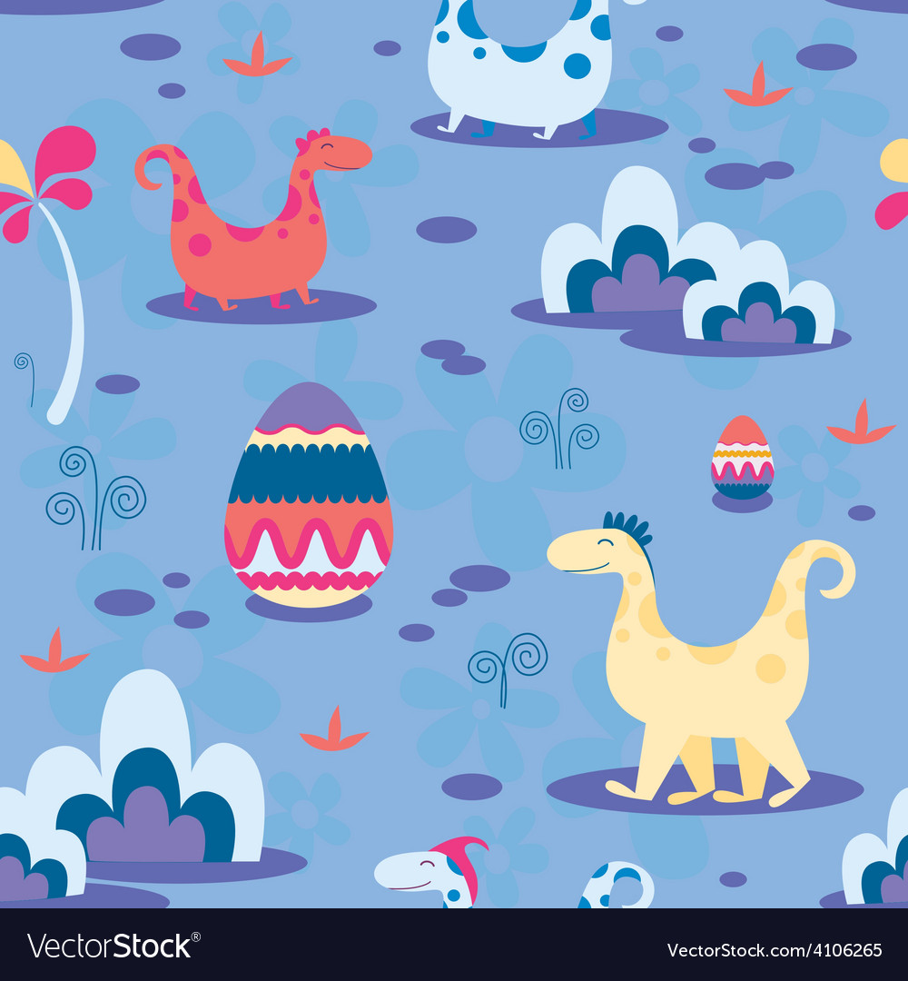 Dinosaurs and ornamental eggs seamless print vector | Price: 1 Credit (USD $1)