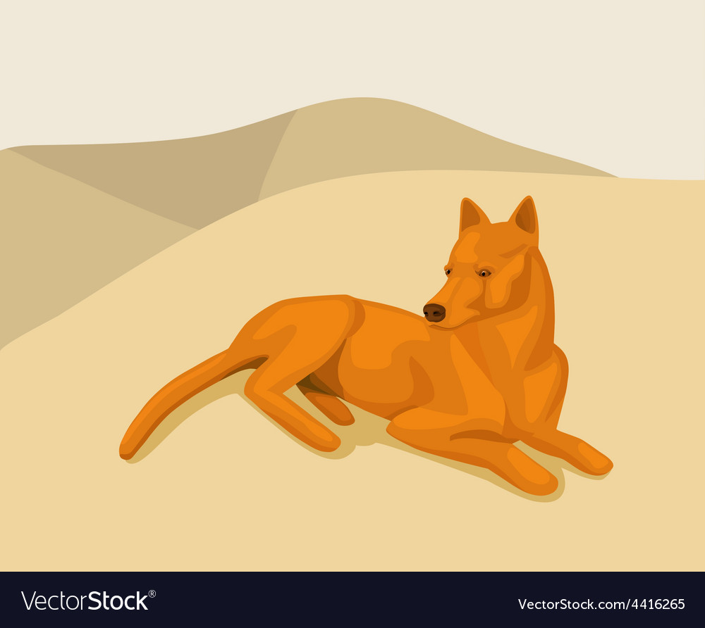 Dog lying on the sand vector | Price: 1 Credit (USD $1)