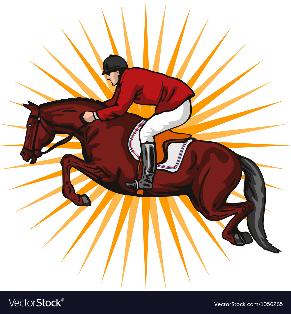 Equestrian show jumping retro vector | Price: 3 Credit (USD $3)