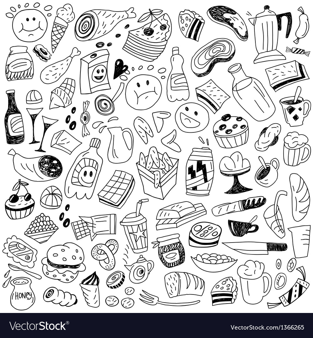 Fast food doodles vector | Price: 1 Credit (USD $1)