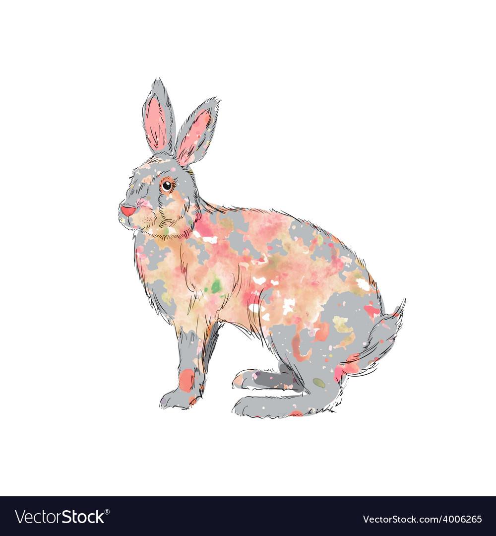Hand drawn watercolor rabbit vector   Price: 1 Credit (USD $1)