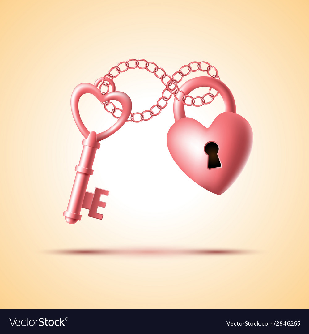 Heart lock with key vector | Price: 1 Credit (USD $1)