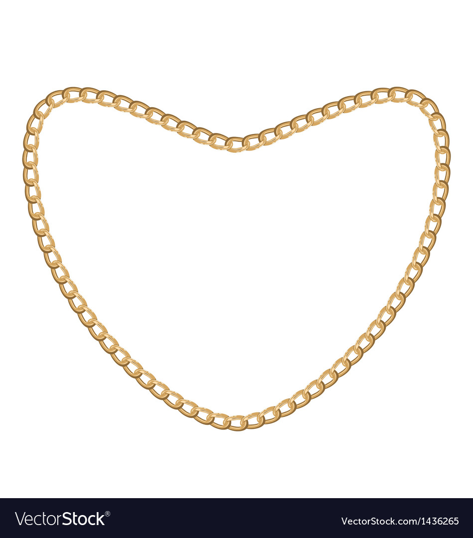 Jewelry golden chain of heart shape vector | Price: 1 Credit (USD $1)