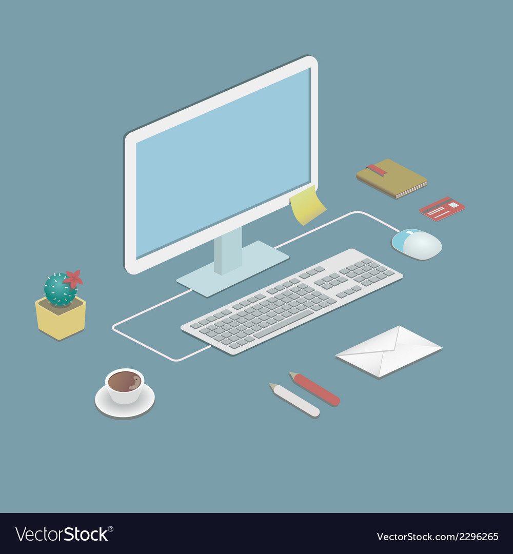 Office workstation vector | Price: 1 Credit (USD $1)