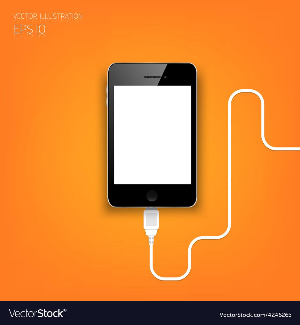 Realistic detalized flat smartphone usb vector | Price: 1 Credit (USD $1)