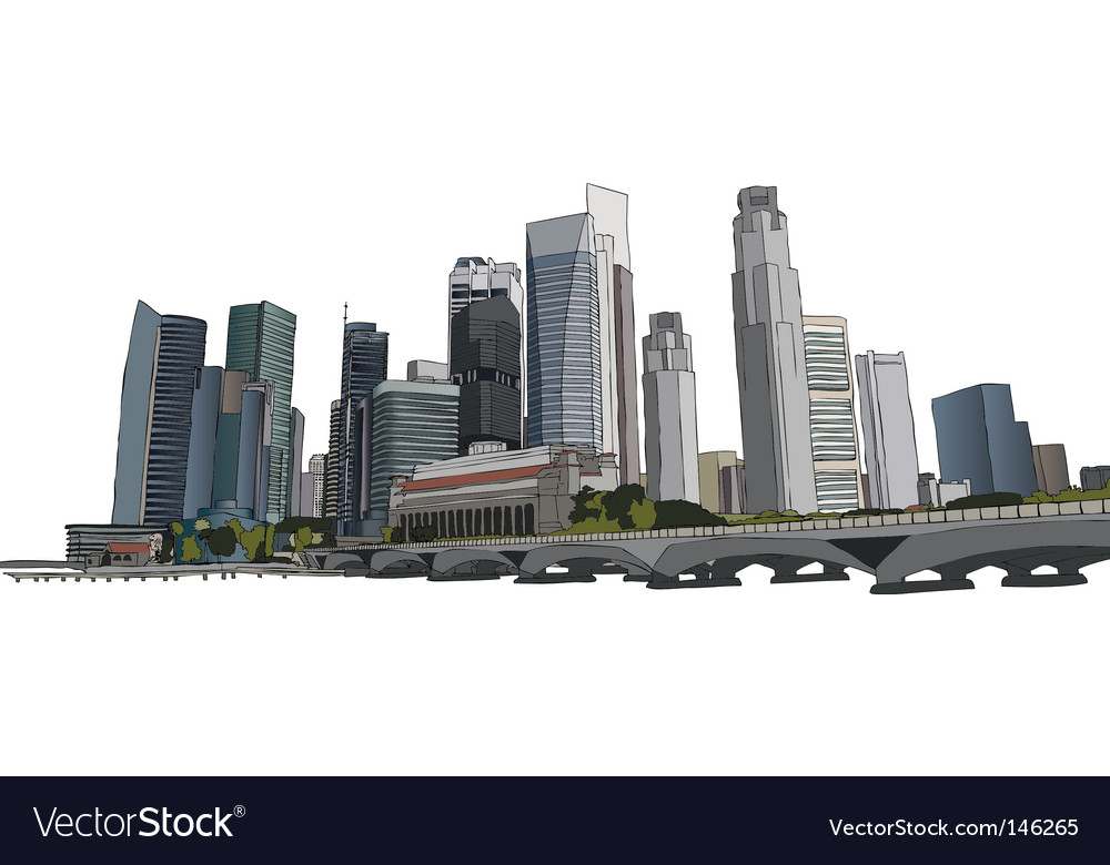 Singapore cityscape vector | Price: 1 Credit (USD $1)