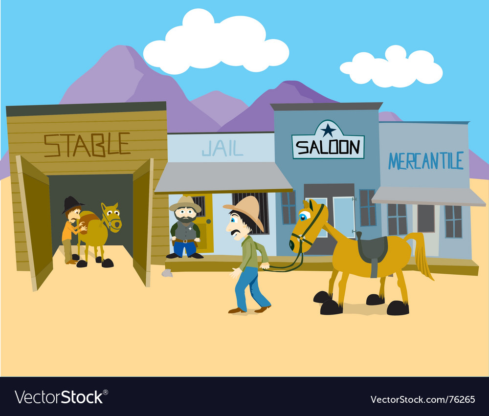 Western town vector | Price: 1 Credit (USD $1)