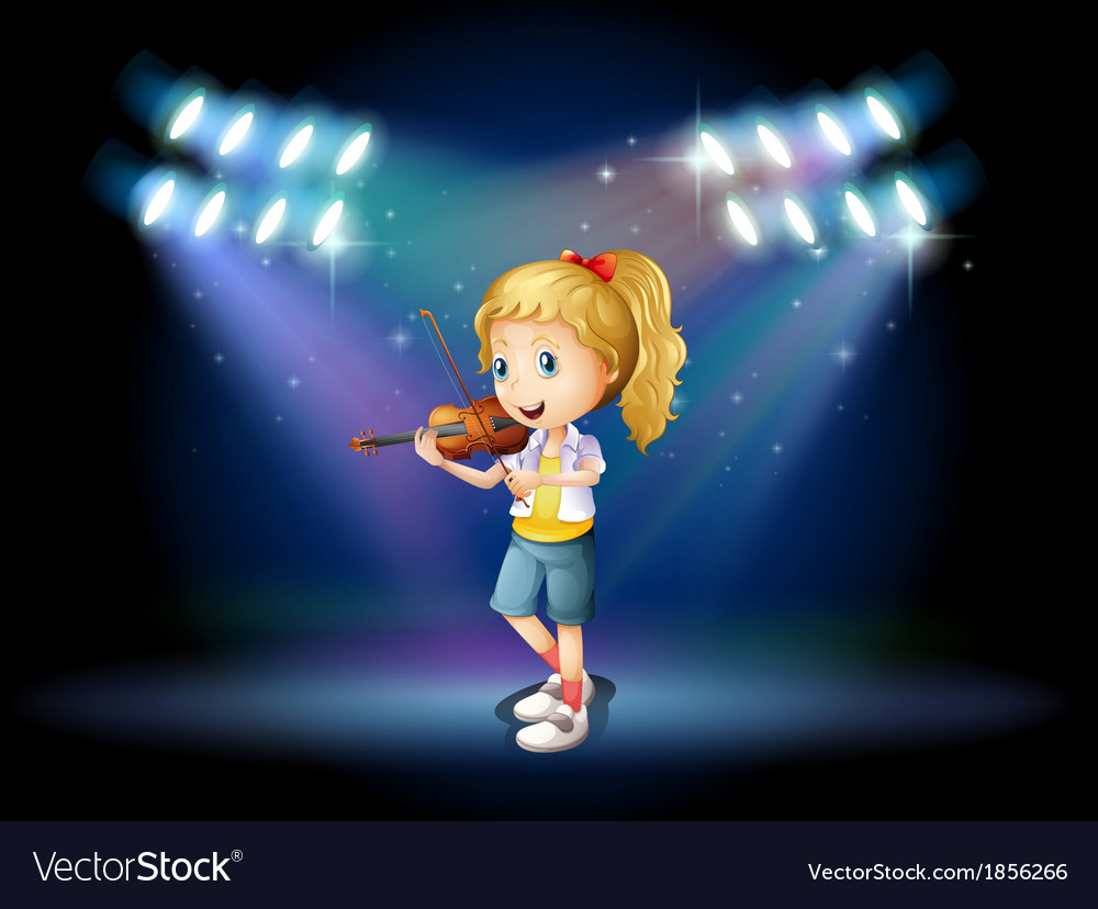 A young girl playing with her violin at the stage vector | Price: 3 Credit (USD $3)