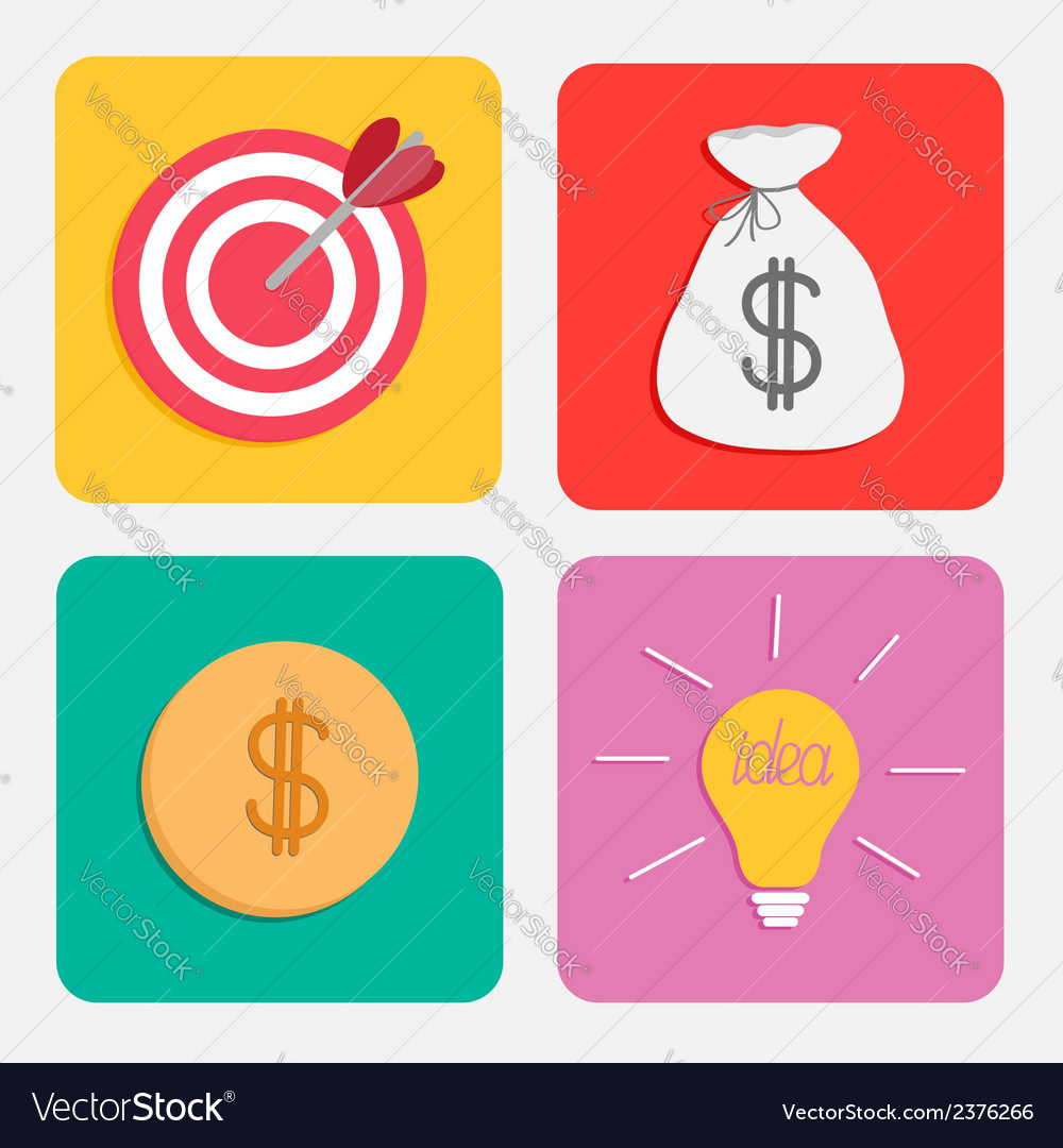Business icon set target moneybag gold coin bulb vector | Price: 1 Credit (USD $1)