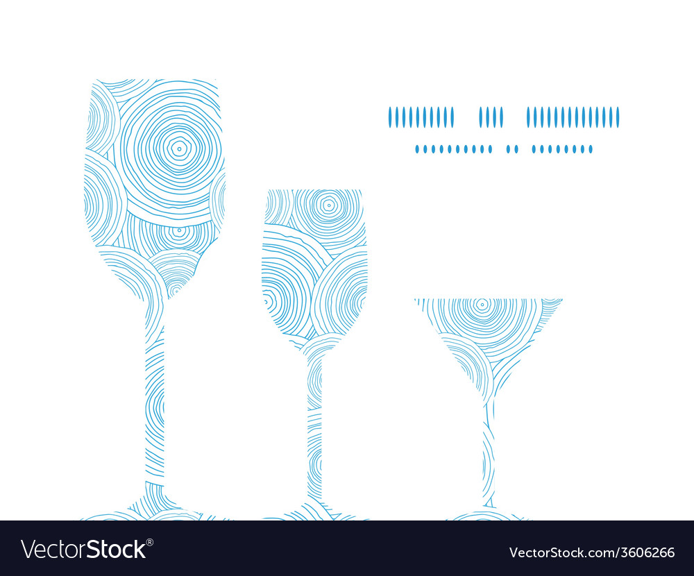 Doodle circle water texture three wine glasses vector | Price: 1 Credit (USD $1)