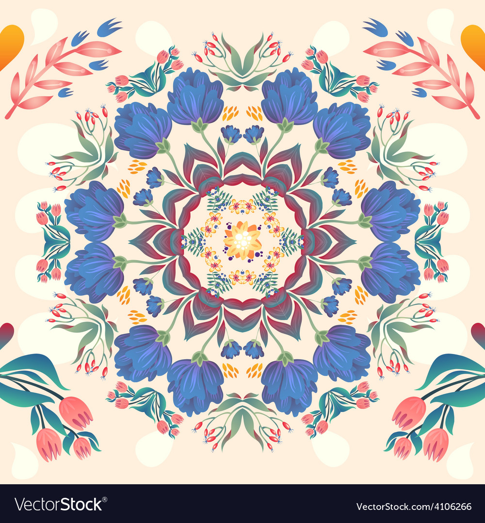 Flowers seamless round pattern decorative card do vector   Price: 1 Credit (USD $1)